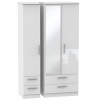 Knightsbridge Tall Triple 2 Drawer Mirror + Drawer Robe